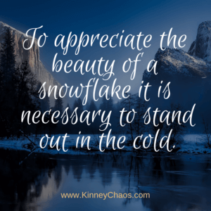 To appreciate the beauty of a snowflake it is necessary to stand out in the cold #quote #snow #standout #outside #quoteoftheday #winter #winterquote